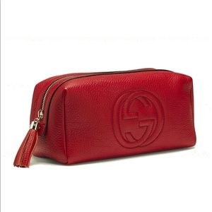 New! Gucci Red Large Cosmetic case